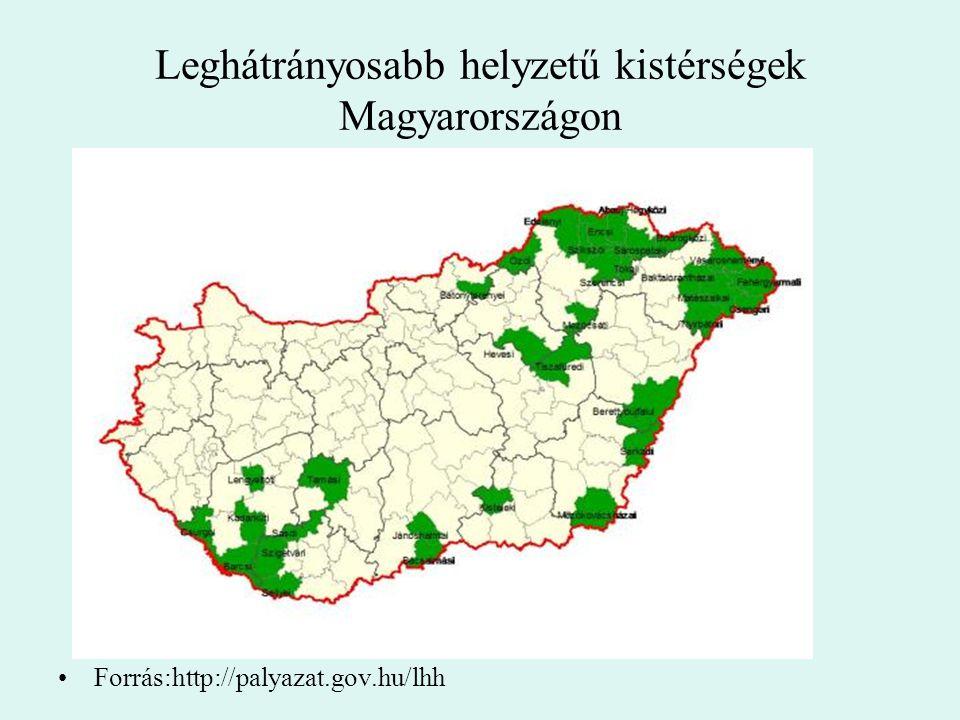 Leghátrányosabb helyzetű kistérségek Magyarországon Forrás:http://palyazat.gov.hu/lhh