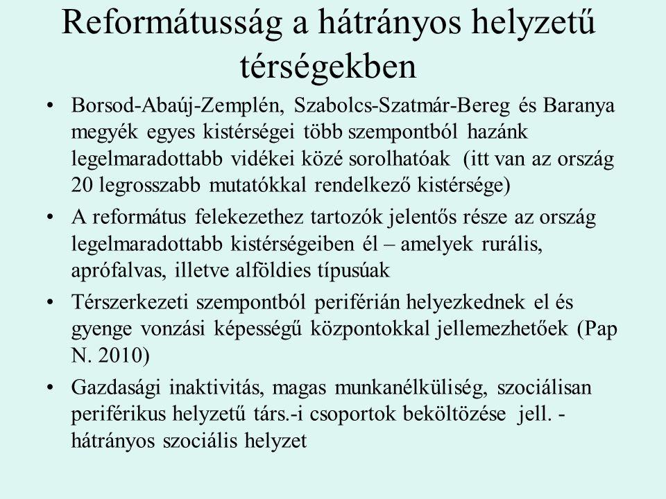 Reformátusság a hátrányos helyzetű térségekben Borsod-Abaúj-Zemplén, Szabolcs-Szatmár-Bereg és Baranya megyék egyes kistérségei több szempontból hazán