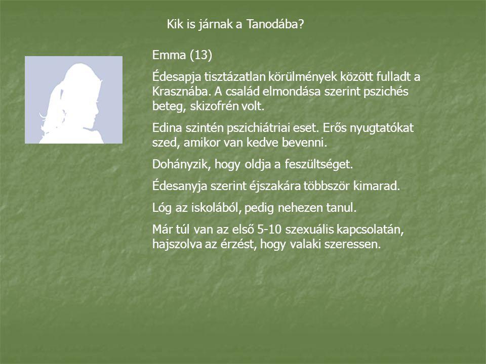 Kik is járnak a Tanodába.Emma (13) Édesapja tisztázatlan körülmények között fulladt a Krasznába.