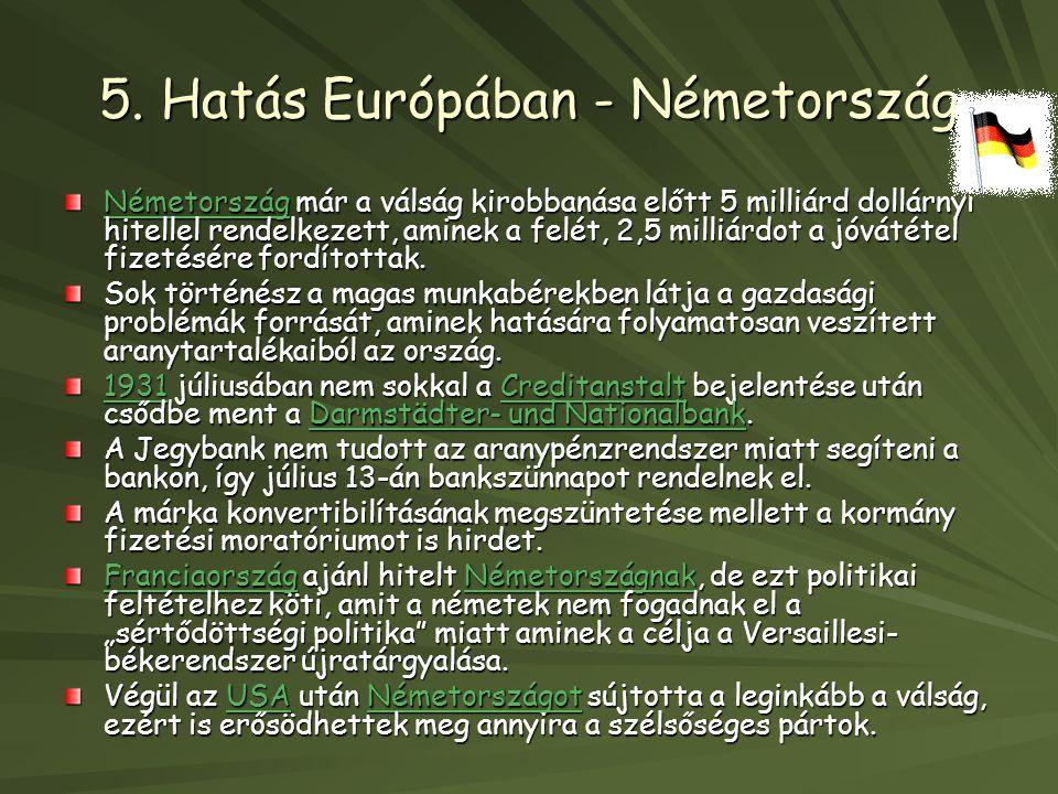 5. Hatás Európában - Németország NémetországNémetország már a válság kirobbanása előtt 5 milliárd dollárnyi hitellel rendelkezett, aminek a felét, 2,5