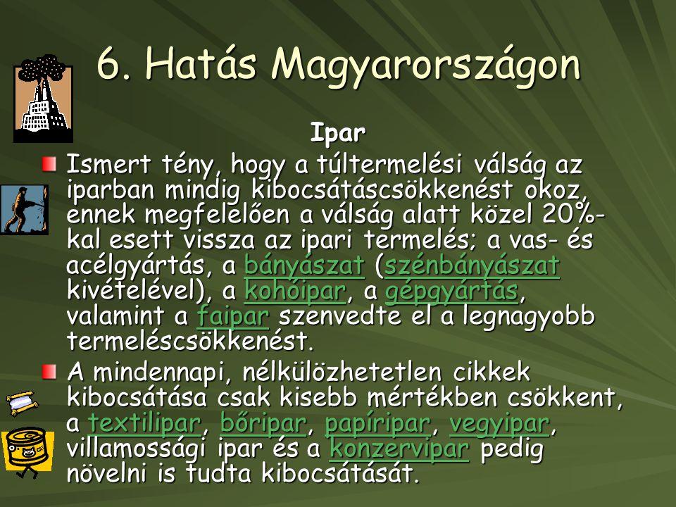 6. Hatás Magyarországon Ipar Ismert tény, hogy a túltermelési válság az iparban mindig kibocsátáscsökkenést okoz, ennek megfelelően a válság alatt köz