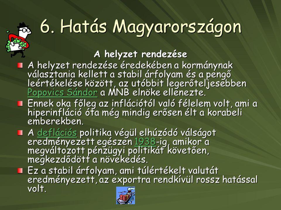 6. Hatás Magyarországon A helyzet rendezése A helyzet rendezése éredekében a kormánynak választania kellett a stabil árfolyam és a pengő leértékelése