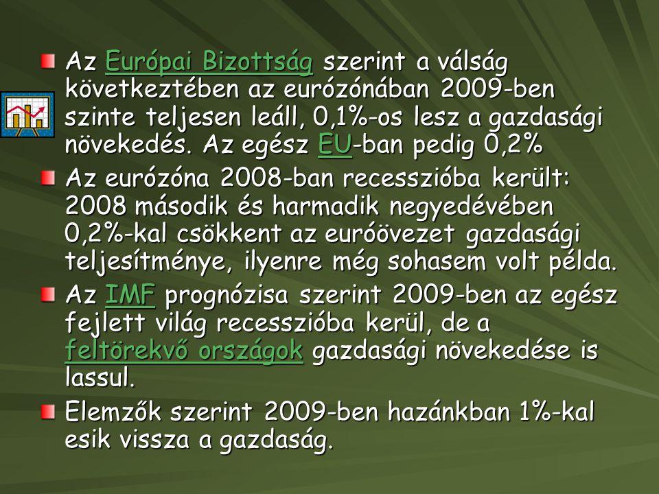 Az Európai Bizottság szerint a válság következtében az eurózónában 2009-ben szinte teljesen leáll, 0,1%-os lesz a gazdasági növekedés.