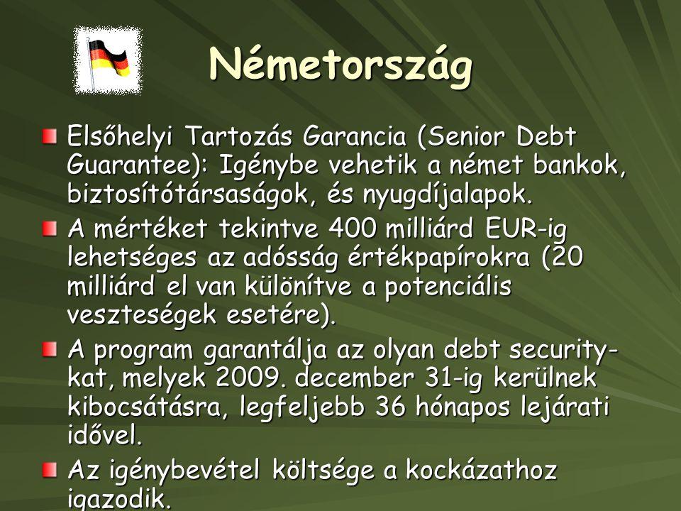 Németország Elsőhelyi Tartozás Garancia (Senior Debt Guarantee): Igénybe vehetik a német bankok, biztosítótársaságok, és nyugdíjalapok.