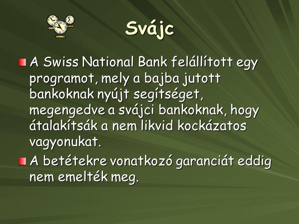 Svájc A Swiss National Bank felállított egy programot, mely a bajba jutott bankoknak nyújt segítséget, megengedve a svájci bankoknak, hogy átalakítsák a nem likvid kockázatos vagyonukat.