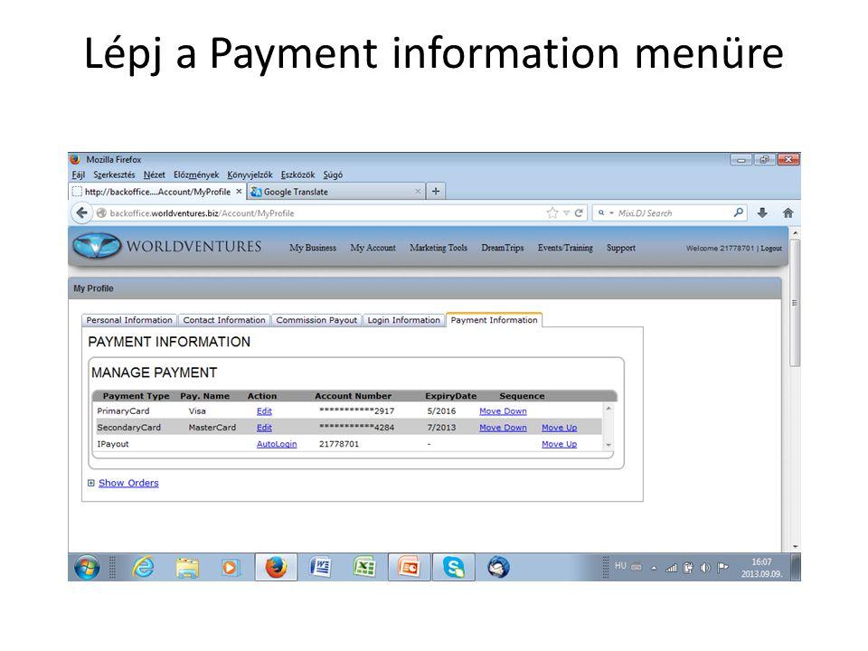 Lépj a Payment information menüre