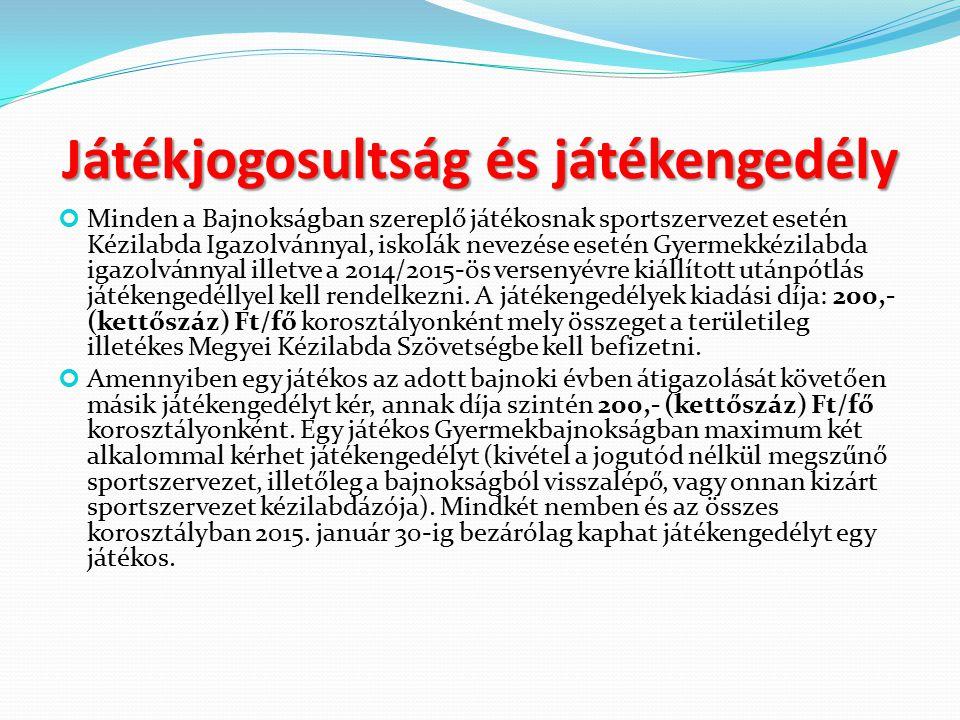 Játékjogosultság és játékengedély Minden a Bajnokságban szereplő játékosnak sportszervezet esetén Kézilabda Igazolvánnyal, iskolák nevezése esetén Gyermekkézilabda igazolvánnyal illetve a 2014/2015-ös versenyévre kiállított utánpótlás játékengedéllyel kell rendelkezni.