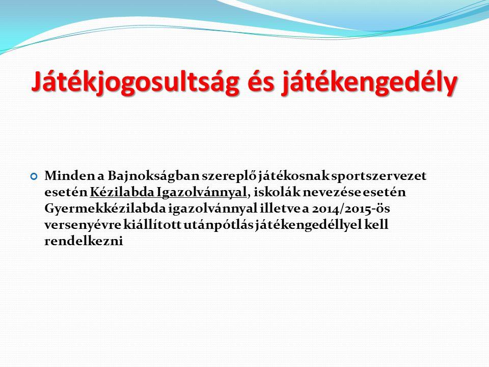 Játékjogosultság és játékengedély Minden a Bajnokságban szereplő játékosnak sportszervezet esetén Kézilabda Igazolvánnyal, iskolák nevezése esetén Gyermekkézilabda igazolvánnyal illetve a 2014/2015-ös versenyévre kiállított utánpótlás játékengedéllyel kell rendelkezni