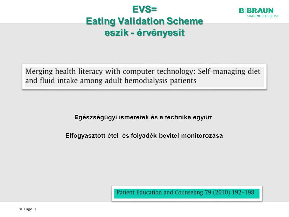 sl | Page EVS= Eating Validation Scheme eszik - érvényesít Egészségügyi ismeretek és a technika együtt Elfogyasztott étel és folyadék bevitel monitoro