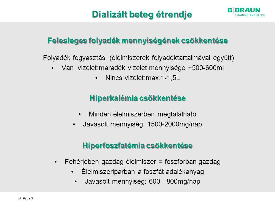sl | Page Dializált beteg étrendje Szükséges energia mennyiség biztosítása Javasolt mennyiség: 35-40 kcal / szttkg Megfelelő mennyiségű fehérje biztosítása Javasolt mennyiség: 1,2 mg / szttkg ( = foszfor mennyiség meghaladja a javasolt 800mg-ot – foszfát kötők) Energia mennyiséget emeljük = fehérje mennyiség = kálium és foszfor tartalom is 4