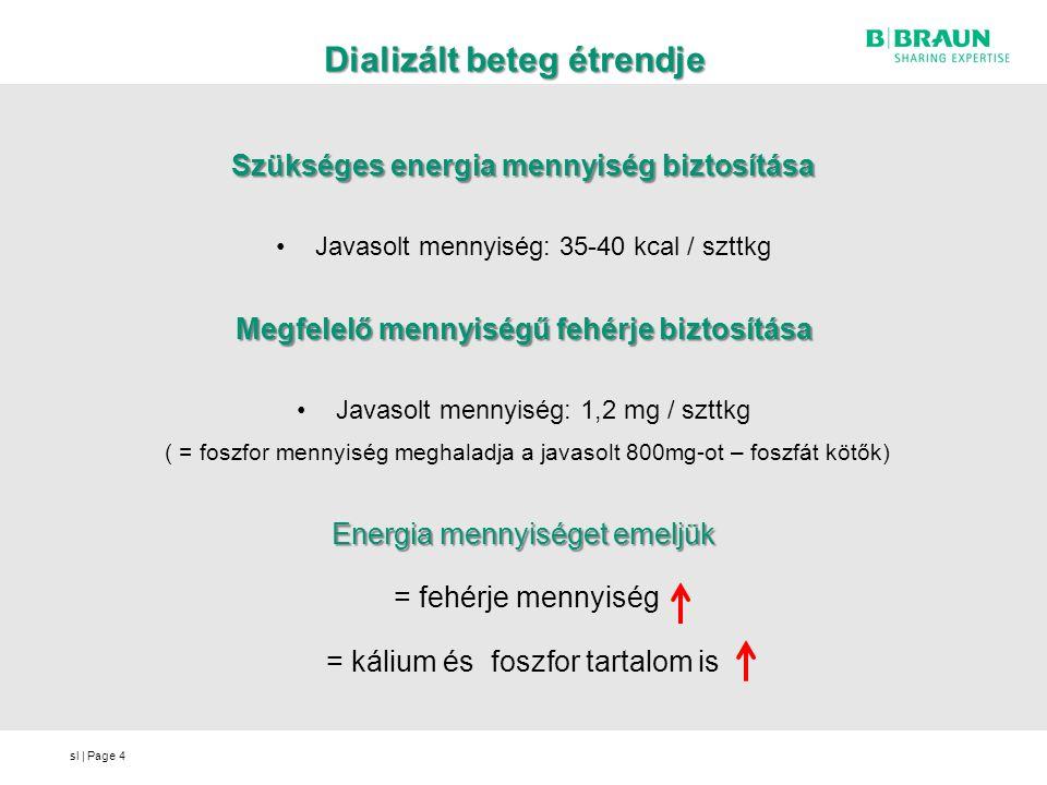sl   Page Dializált beteg étrendje Szükséges energia mennyiség biztosítása Javasolt mennyiség: 35-40 kcal / szttkg Megfelelő mennyiségű fehérje biztos