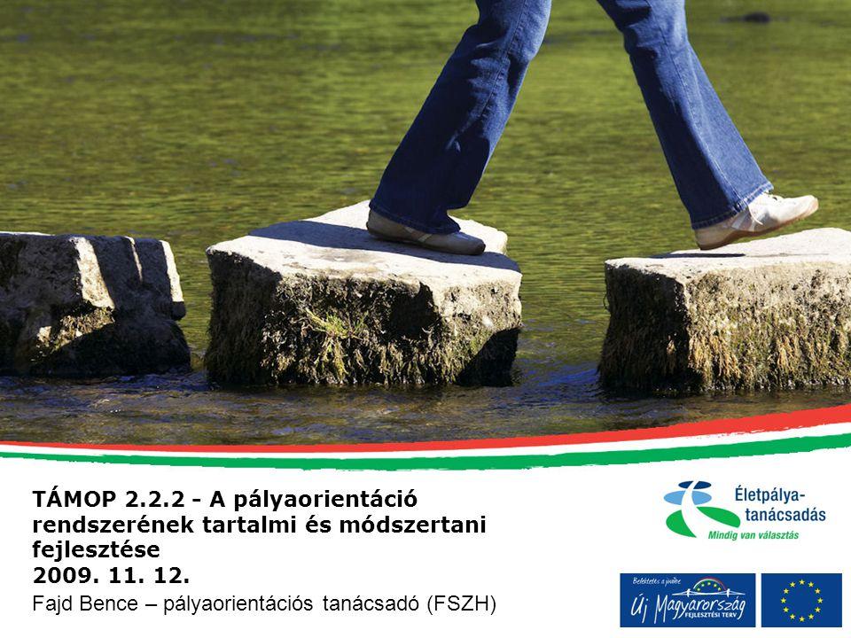 TÁMOP 2.2.2 - A pályaorientáció rendszerének tartalmi és módszertani fejlesztése 2009. 11. 12. Fajd Bence – pályaorientációs tanácsadó (FSZH)