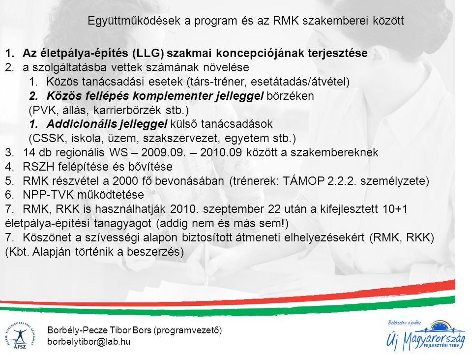 Borbély-Pecze Tibor Bors (programvezető) borbelytibor@lab.hu Együttműködések a program és az RMK szakemberei között 1.Az életpálya-építés (LLG) szakma