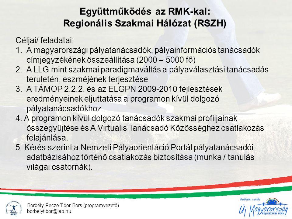 Borbély-Pecze Tibor Bors (programvezető) borbelytibor@lab.hu Együttműködés az RMK-kal: Regionális Szakmai Hálózat (RSZH) Céljai/ feladatai: 1.A magyar