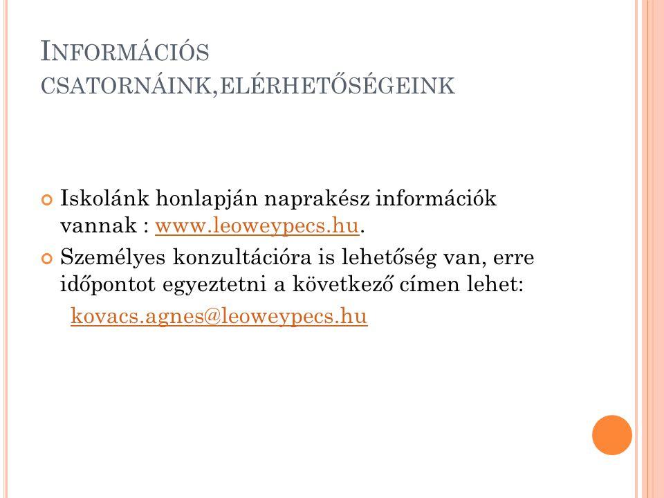 I NFORMÁCIÓS CSATORNÁINK, ELÉRHETŐSÉGEINK Iskolánk honlapján naprakész információk vannak : www.leoweypecs.hu.www.leoweypecs.hu Személyes konzultációra is lehetőség van, erre időpontot egyeztetni a következő címen lehet: kovacs.agnes@leoweypecs.hu