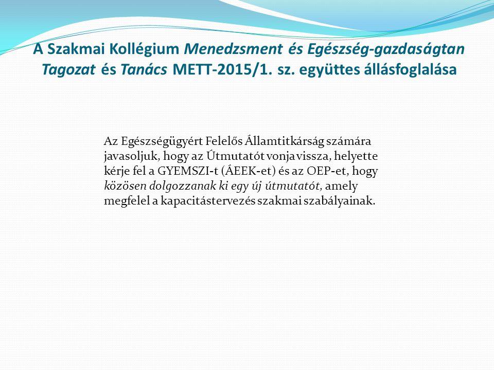 A Szakmai Kollégium Menedzsment és Egészség-gazdaságtan Tagozat és Tanács METT-2015/1.