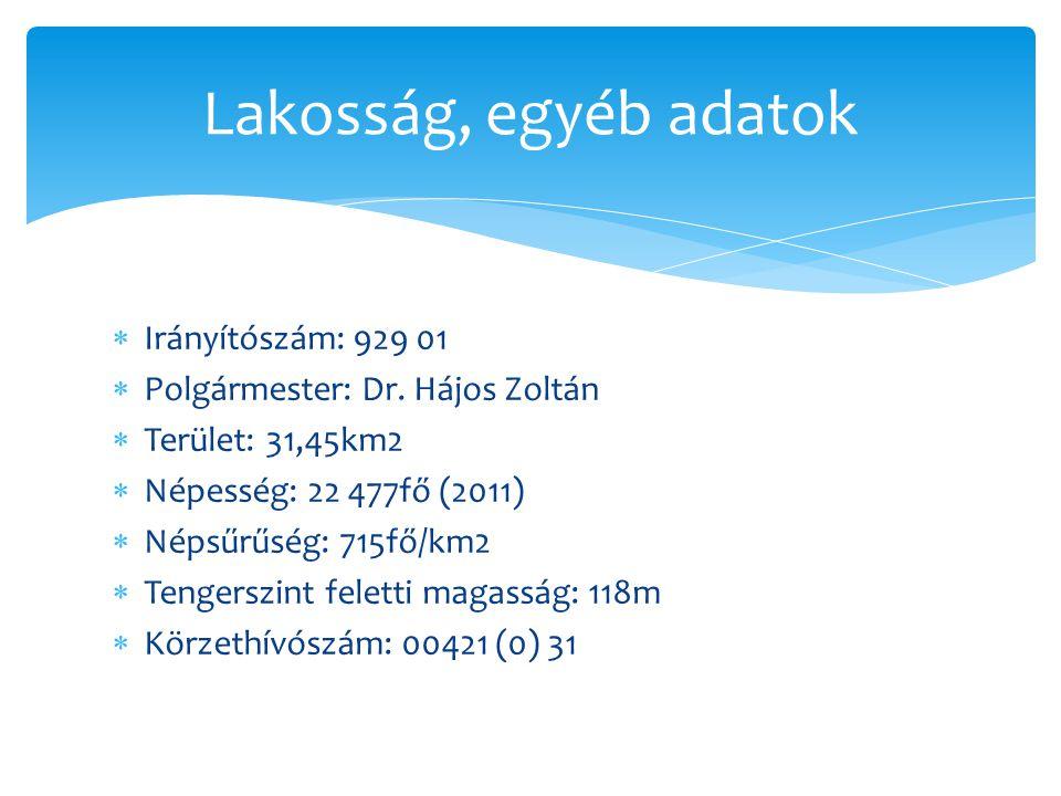  Irányítószám: 929 01  Polgármester: Dr. Hájos Zoltán  Terület: 31,45km2  Népesség: 22 477fő (2011)  Népsűrűség: 715fő/km2  Tengerszint feletti