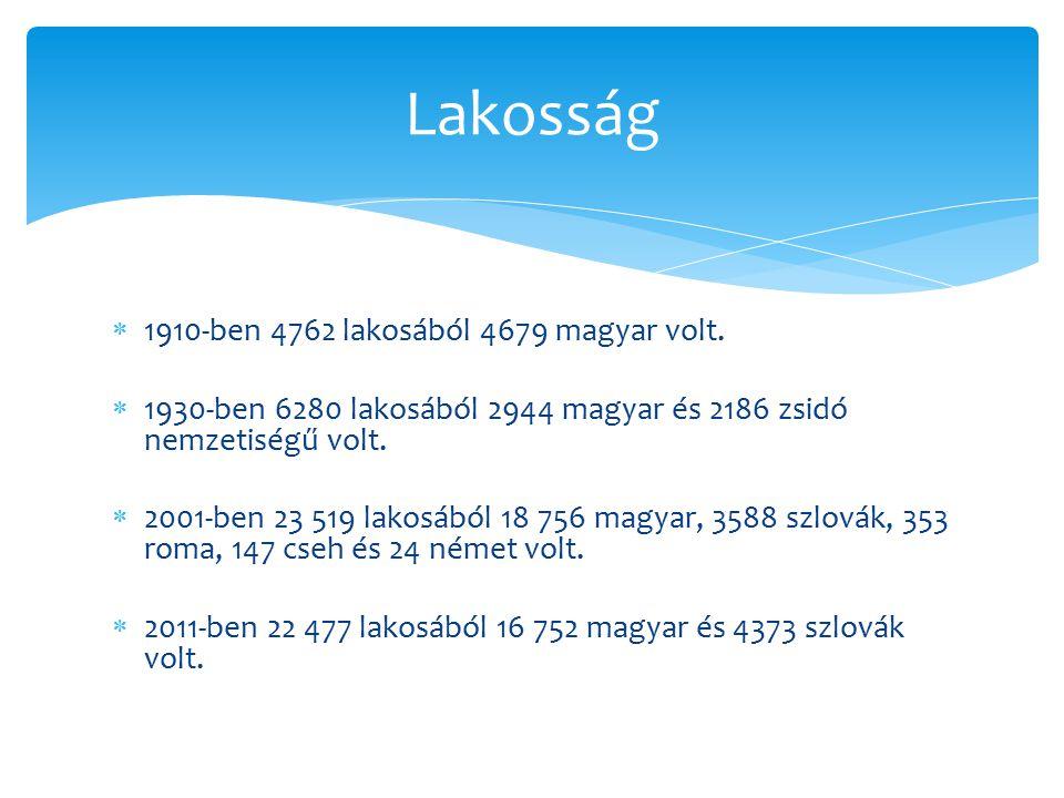  1910-ben 4762 lakosából 4679 magyar volt.  1930-ben 6280 lakosából 2944 magyar és 2186 zsidó nemzetiségű volt.  2001-ben 23 519 lakosából 18 756 m