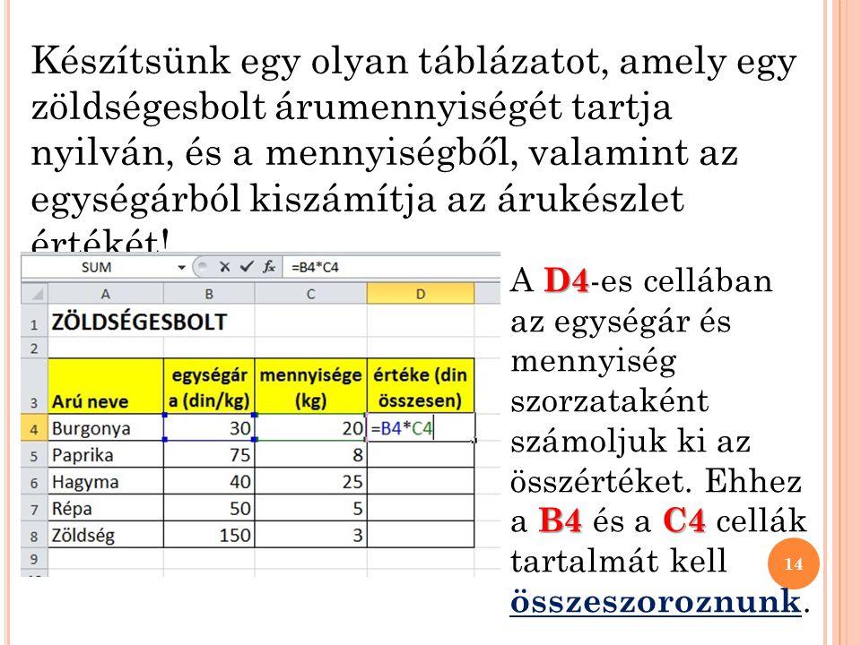 Készítsünk egy olyan táblázatot, amely egy zöldségesbolt árumennyiségét tartja nyilván, és a mennyiségből, valamint az egységárból kiszámítja az árukészlet értékét.
