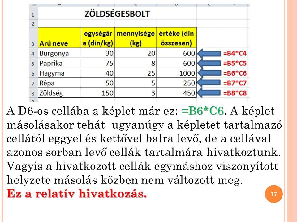 =B6*C6 A D6-os cellába a képlet már ez: =B6*C6.