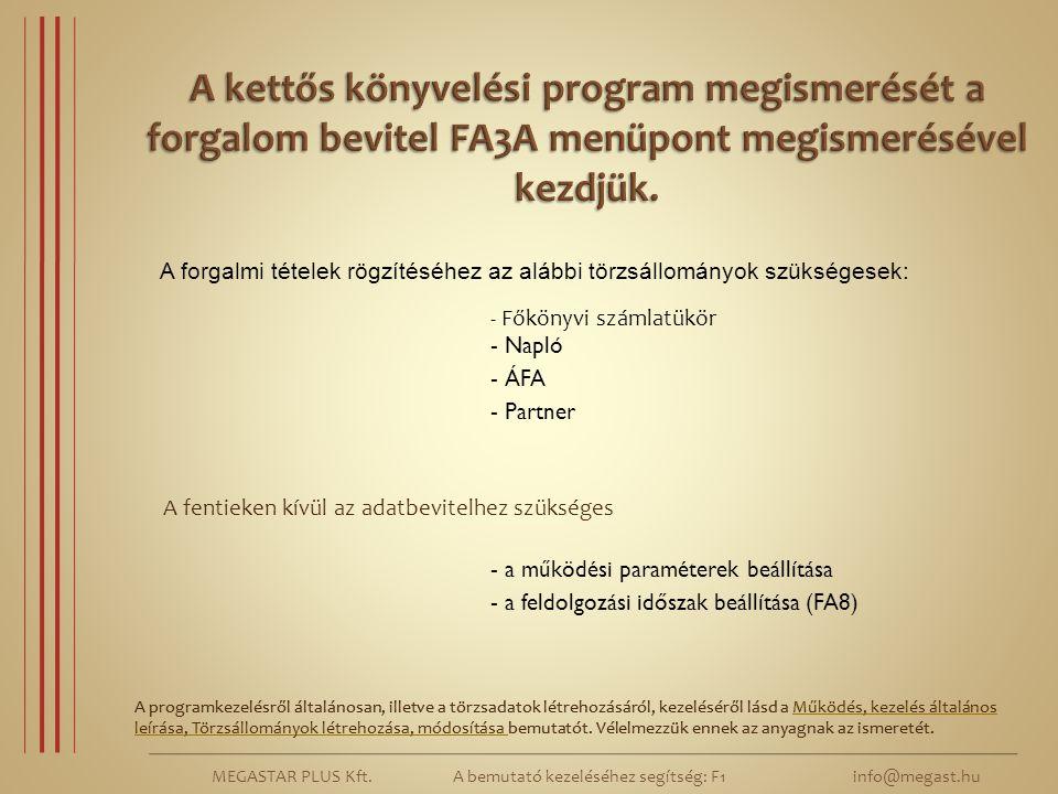 MEGASTAR PLUS Kft. A bemutató kezeléséhez segítség: F1 info@megast.hu A programkezelésről általánosan, illetve a törzsadatok létrehozásáról, kezelésér