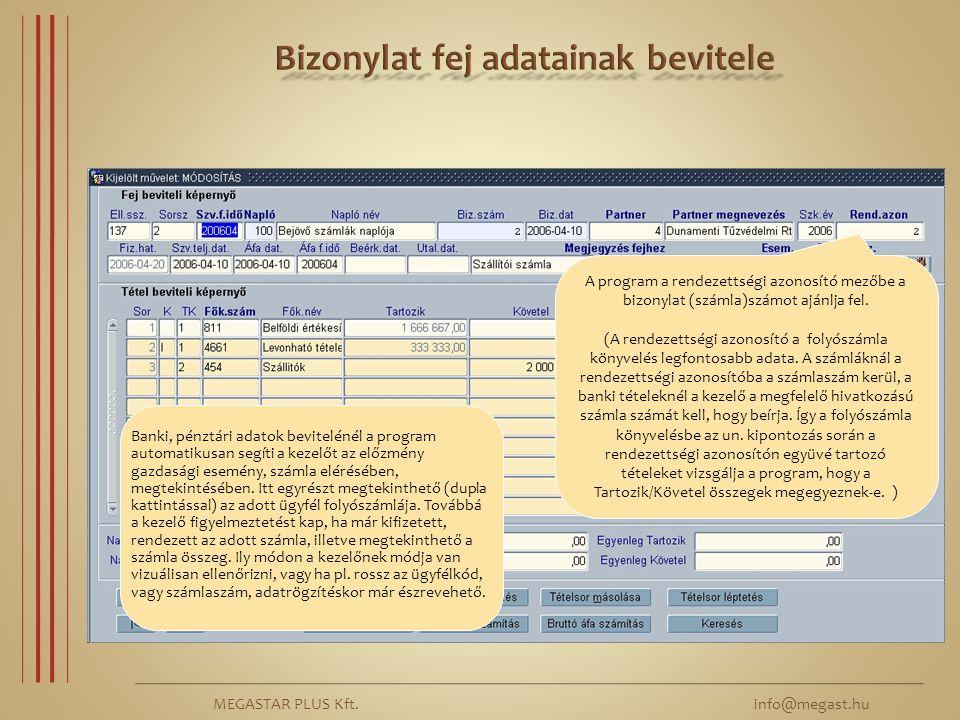 MEGASTAR PLUS Kft. info@megast.hu A program a rendezettségi azonosító mezőbe a bizonylat (számla)számot ajánlja fel. (A rendezettségi azonosító a foly