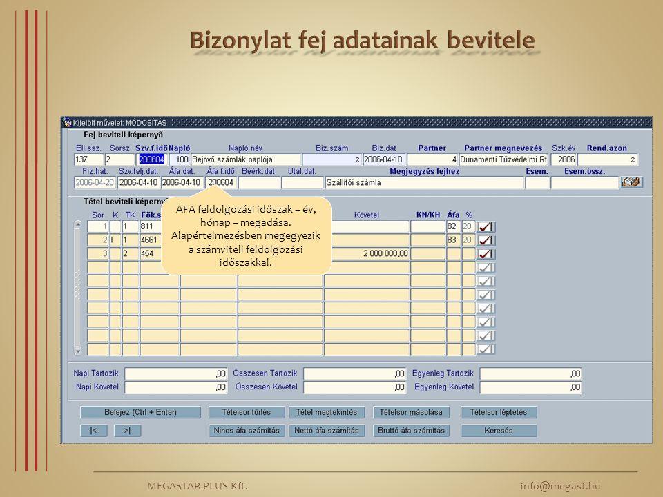MEGASTAR PLUS Kft. info@megast.hu ÁFA feldolgozási időszak – év, hónap – megadása. Alapértelmezésben megegyezik a számviteli feldolgozási időszakkal.