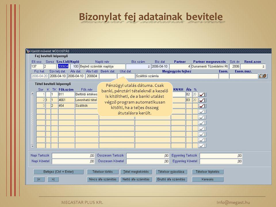 MEGASTAR PLUS Kft. info@megast.hu Pénzügyi utalás dátuma. Csak banki, pénztári tételeknél a kezelő is kitöltheti, de a banki utalást végző program aut