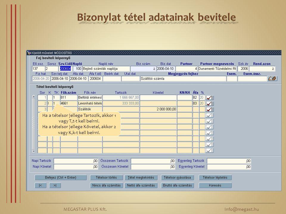 MEGASTAR PLUS Kft. info@megast.hu Ha a tételsor jellege Tartozik, akkor 1 vagy T,t-t kell beírni. Ha a tételsor jellege Követel, akkor 2 vagy K,k-t ke
