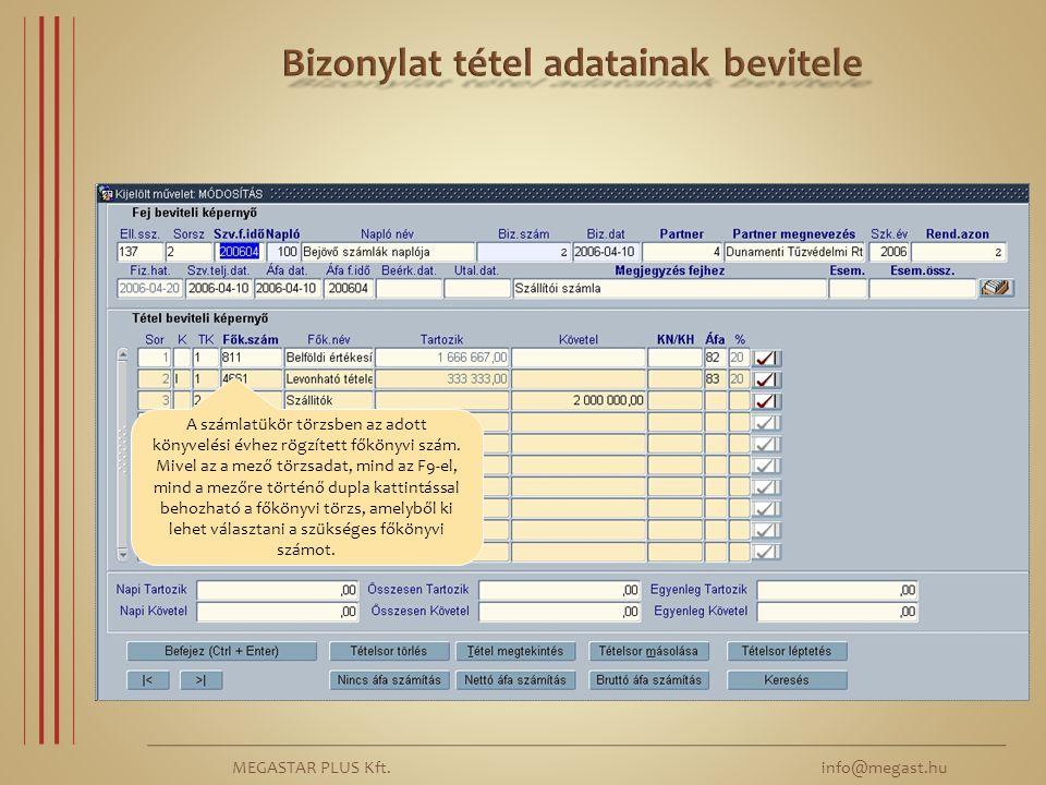MEGASTAR PLUS Kft. info@megast.hu A számlatükör törzsben az adott könyvelési évhez rögzített főkönyvi szám. Mivel az a mező törzsadat, mind az F9-el,