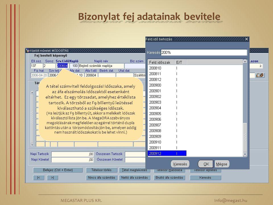 MEGASTAR PLUS Kft.info@megast.hu ÁFA feldolgozási időszak – év, hónap – megadása.