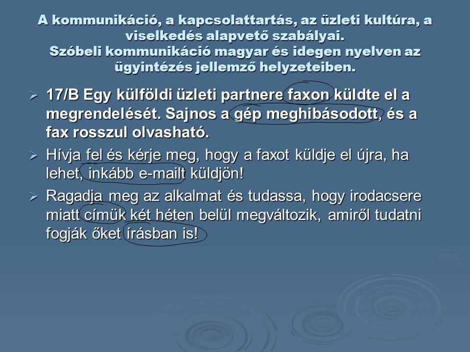 A kommunikáció, a kapcsolattartás, az üzleti kultúra, a viselkedés alapvető szabályai. Szóbeli kommunikáció magyar és idegen nyelven az ügyintézés jel