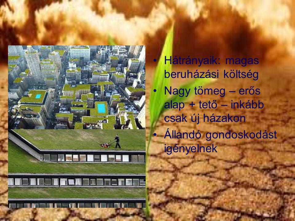 Hátrányaik: magas beruházási költség Nagy tömeg – erős alap + tető – inkább csak új házakon Állandó gondoskodást igényelnek