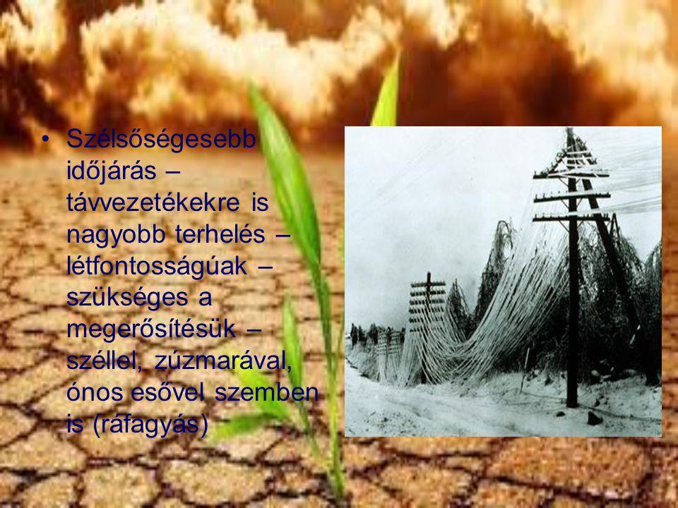 Szélsőségesebb időjárás – távvezetékekre is nagyobb terhelés – létfontosságúak – szükséges a megerősítésük – széllel, zúzmarával, ónos esővel szemben