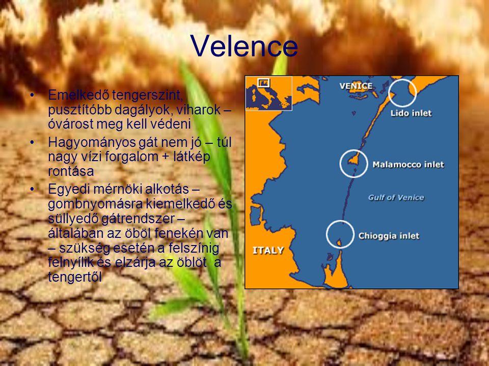 Velence Emelkedő tengerszint, pusztítóbb dagályok, viharok – óvárost meg kell védeni Hagyományos gát nem jó – túl nagy vízi forgalom + látkép rontása