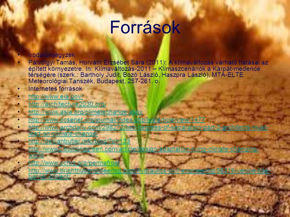 Források Irodalomjegyzék Pálvölgyi Tamás, Horváth Erzsébet Sára (2011): A klímaváltozás várható hatásai az épített környezetre. In: Klímaváltozás-2011