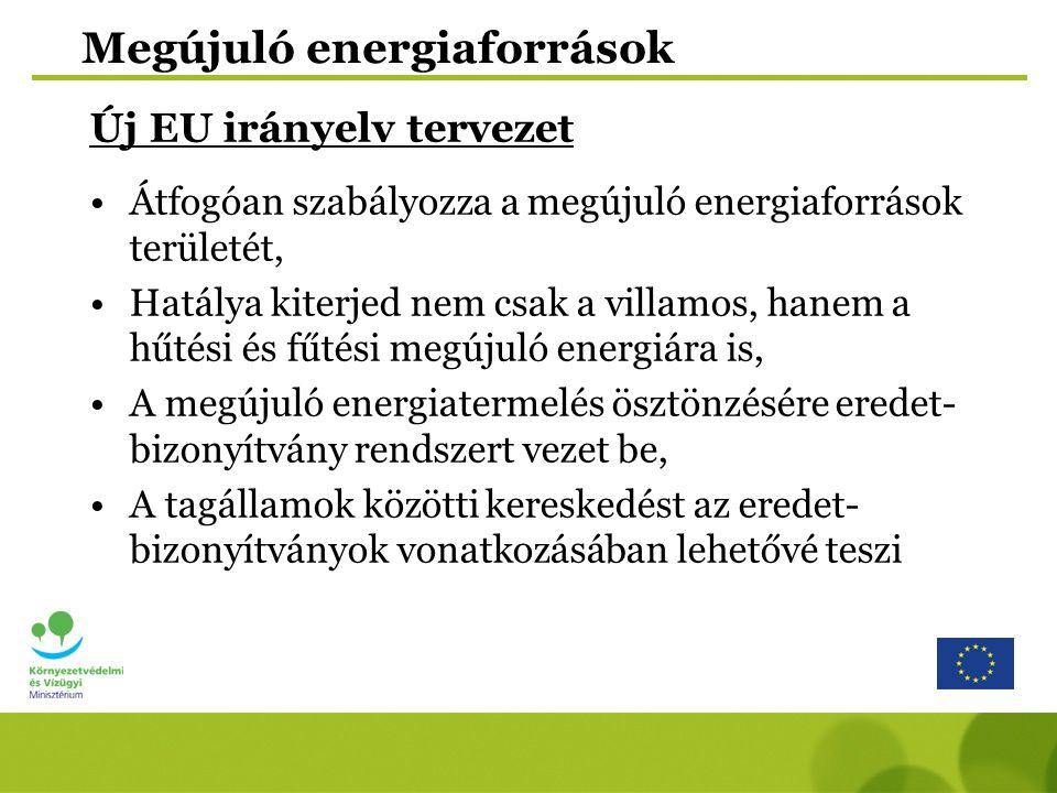 Megújuló energiaforrások Új EU irányelv tervezet Átfogóan szabályozza a megújuló energiaforrások területét, Hatálya kiterjed nem csak a villamos, hane