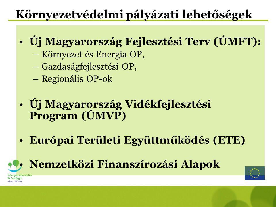 Új Magyarország Fejlesztési Terv (ÚMFT): –Környezet és Energia OP, –Gazdaságfejlesztési OP, –Regionális OP-ok Új Magyarország Vidékfejlesztési Program