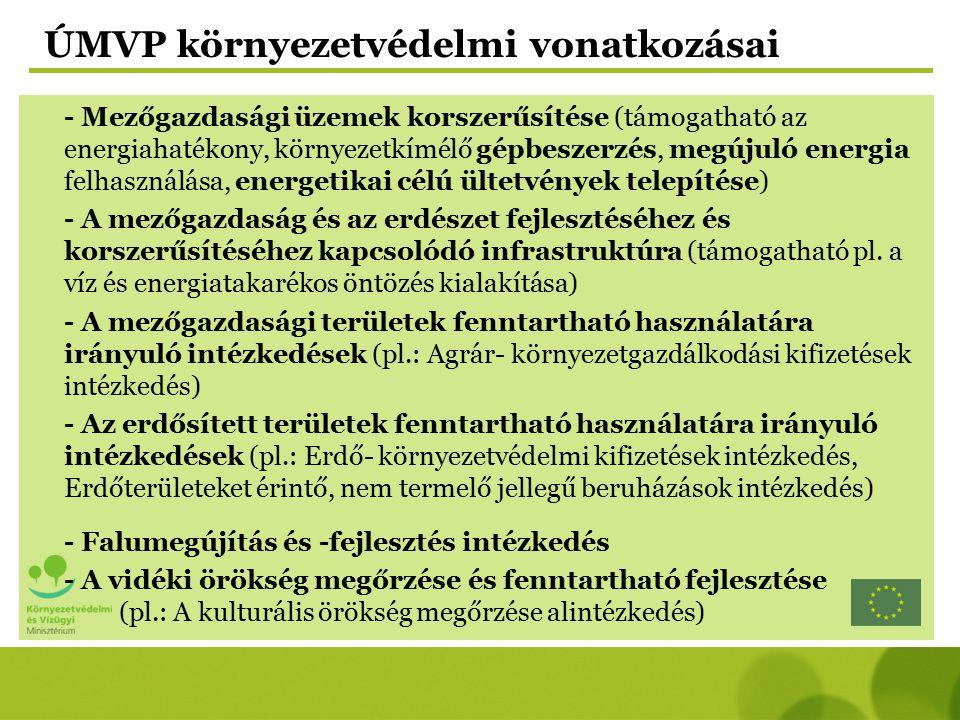 ÚMVP környezetvédelmi vonatkozásai - Mezőgazdasági üzemek korszerűsítése (támogatható az energiahatékony, környezetkímélő gépbeszerzés, megújuló energ