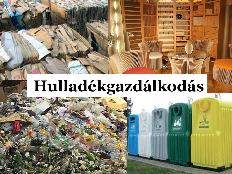 Stratégiai célok A megelőzés, az integrált szennyezés-megelőzés elve alapján, a legkisebb mértékűre kell szorítani a képződő hulladék mennyiségét és veszélyességét –a technológia fejlesztésével (tiszta technológiák alkalmazásával), – a termékek fejlesztésével (minimális hulladéktartalmú, illetve hulladékként jól hasznosítható termékek előállításával) A hulladékban rejlő anyag és energia hasznosítása: – a hulladék ismételt felhasználása, – a nyersanyagok hulladékkal történő helyettesítése, – a hulladék energiahordozóként való felhasználása.