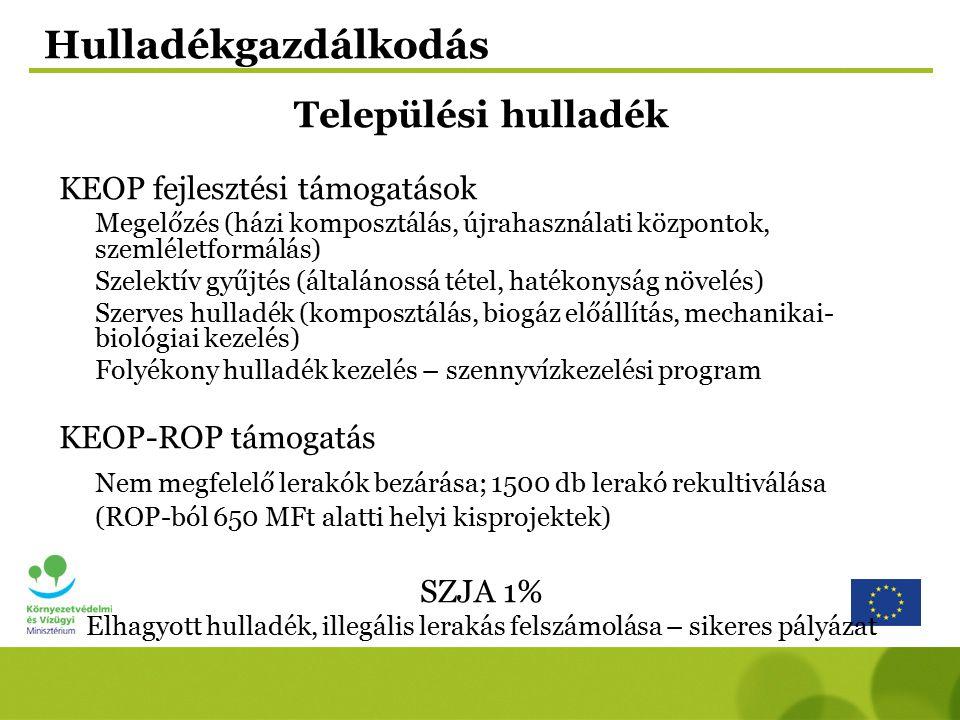 Új Magyarország Fejlesztési Terv (ÚMFT): –Környezet és Energia OP, –Gazdaságfejlesztési OP, –Regionális OP-ok Új Magyarország Vidékfejlesztési Program (ÚMVP) Európai Területi Együttműködés (ETE) Nemzetközi Finanszírozási Alapok Környezetvédelmi pályázati lehetőségek