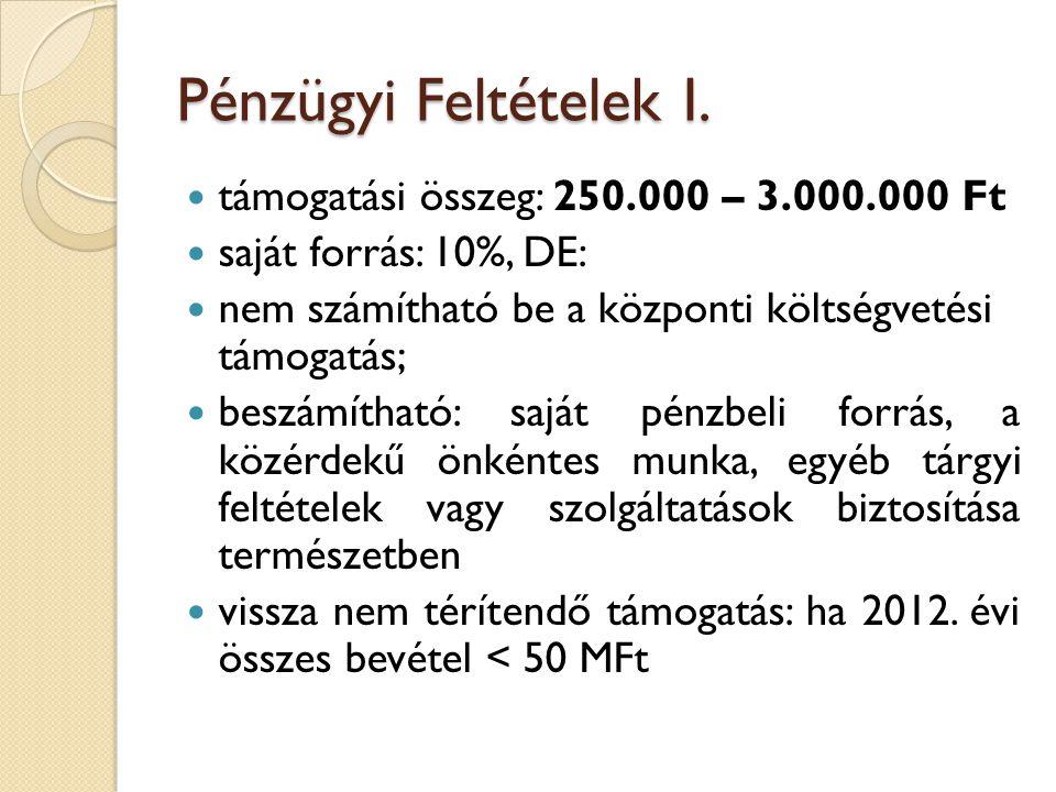 Pénzügyi Feltételek I.