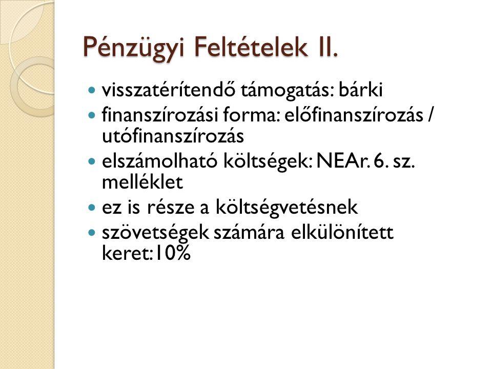Pénzügyi Feltételek II.