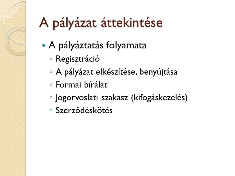 A pályázat áttekintése A pályáztatás folyamata ◦ Regisztráció ◦ A pályázat elkészítése, benyújtása ◦ Formai bírálat ◦ Jogorvoslati szakasz (kifogáskezelés) ◦ Szerződéskötés