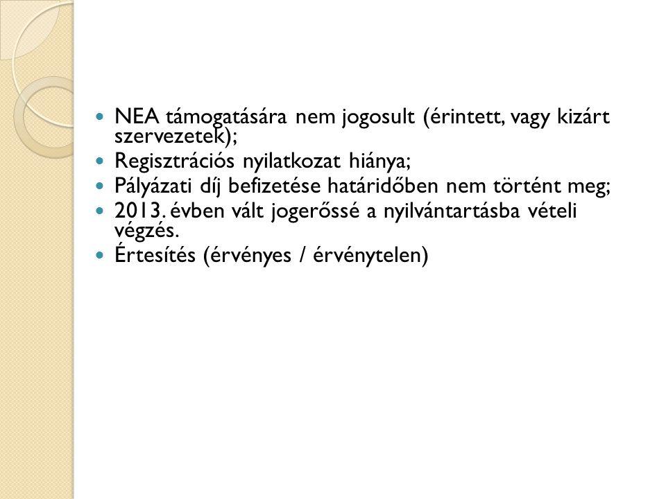 NEA támogatására nem jogosult (érintett, vagy kizárt szervezetek); Regisztrációs nyilatkozat hiánya; Pályázati díj befizetése határidőben nem történt meg; 2013.
