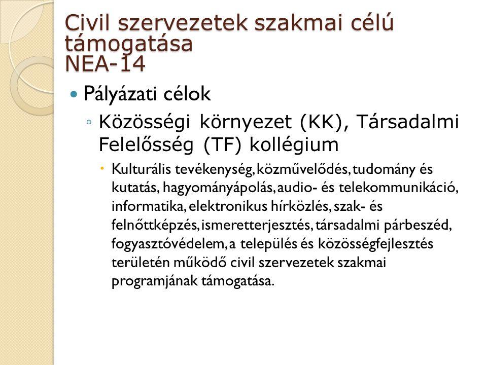 Civil szervezetek szakmai célú támogatása NEA-14 Pályázati célok ◦Közösségi környezet (KK), Társadalmi Felelősség (TF) kollégium  Kulturális tevékenység, közművelődés, tudomány és kutatás, hagyományápolás, audio- és telekommunikáció, informatika, elektronikus hírközlés, szak- és felnőttképzés, ismeretterjesztés, társadalmi párbeszéd, fogyasztóvédelem, a település és közösségfejlesztés területén működő civil szervezetek szakmai programjának támogatása.