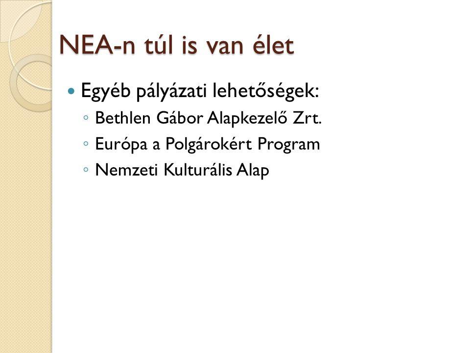 NEA-n túl is van élet Egyéb pályázati lehetőségek: ◦ Bethlen Gábor Alapkezelő Zrt.