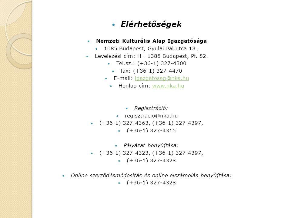 Elérhetőségek Nemzeti Kulturális Alap Igazgatósága 1085 Budapest, Gyulai Pál utca 13., Levelezési cím: H - 1388 Budapest, Pf.