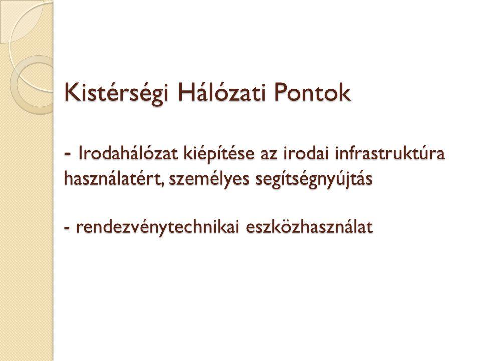 Kistérségi Hálózati Pontok - Irodahálózat kiépítése az irodai infrastruktúra használatért, személyes segítségnyújtás - rendezvénytechnikai eszközhasználat