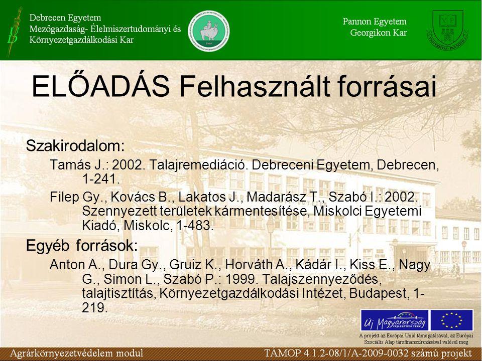 ELŐADÁS Felhasznált forrásai Szakirodalom: Tamás J.: 2002.